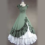 Short Sleeve Floor-length Green Cotton Gohitc Lolita Dress