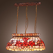 Tiffany Style Pendant Light with 4 Lights - Flower Patterned