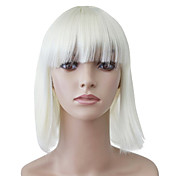 Capless Medium White Straight High Quality Synthetic Japanese Kanekalon Wigs