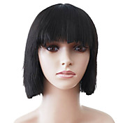 Capless Short Black Straight High Quality Synthetic Japanese Kanekalon Wigs