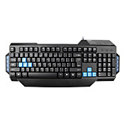 E-3LUE Confort LED étanche Multimédia Advance Gaming Keyboard with Built-in Metal