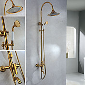 Wall Mount Contemporary Ti-PVD Finish Brass Shower Faucets