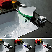Chrome Finish Contemporary Color Changing LED Waterfall Bathroom Sink Faucet