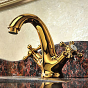 Solid Brass Two Handles Ti-PVD Finish Bathroom Sink Faucet