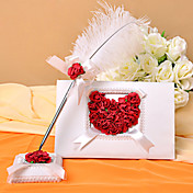 White Wedding Guest Book and Feather Pen Set With Rose Petals