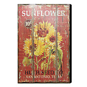 Printed Art Vintage Wooden Plaque Floral Sunflower 1212-0153