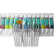 Nail Art Tip Coloured Painting Kit(15 Brushes+12-Color Polish)
