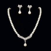Prolas elegante com strass Set Mulher jias, incluindo colar, brincos