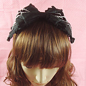 Handmade Ruffled Black Cotton 26cm Bow Classic Lolita Headband