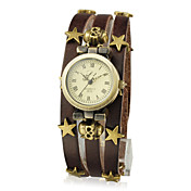 Women's Leather with Stars Quartz Movement Round Glass Wrist Watches More Colors