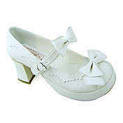 Handmade Elegant Pure White PU Leather 7.5cm High Heel Princess Lolita Shoes