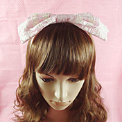Handmade Pink Cotton Lace 23cm Bow Sweet Lolita Headband
