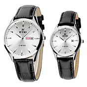 Quality Couples' PU Quartz Movement Glass Wrist Watches More Colors