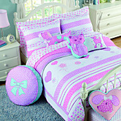 3PCS Heart Pattern Cotton Königin Quilt Set