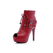 Leatherette Stiletto Heel Ankle Boots / Peep Toe With Buckle Party / Evening Shoes (More Colors)