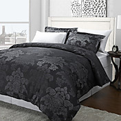3PCS Azua Flower Black Jacquard Twin/Queen/King Duvet Cover Set