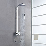 Digital LCD Screen Chrome Finish Contemporary Style Thermostatic Shower Faucets with 8&quot; Showhead + Handheld