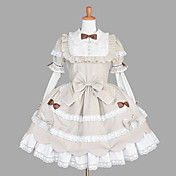 Lovely Long Sleeve Knee-length Beige Cotton School Lolita Dress