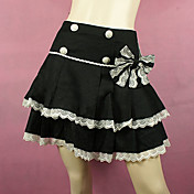 Short Black Cotton White Lace Trim Sweet Lolita Skirt with Bow