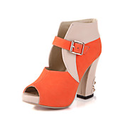 Suede Chunky Heel Peep Toe With Buckle Party / Evening Shoes (More Colors)