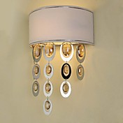 60W Modern Crystal Wall Lamp with Fabric Shade and Golden Metal Circle Pendants