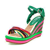 Elegant Leatherette Wedge Heel Sandals With Buckle Party/Evening Shoes (More Colors)