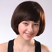Capless Short Brown Curly Mixed Hair Wigs Side Bang