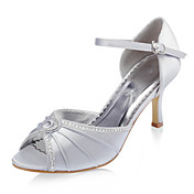 Top Quality Satin Upper Stiletto Heel Peep Toe With Rhinestone Fashion Shoes
