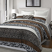 3PCS Aarhus Leopard/Zebra Stripe Poly Velvet Twin/Queen/King Duvet Cover Set