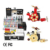 2 gietijzeren revolver desiign tattoo gun kit met lcd power (40 kleur inkt)