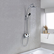 Thermostatic Digital LCD Screen Contemporary Style Chrome Finish Shower Faucets with 8&quot; Showhead + Handheld