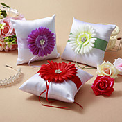 Elegant Wedding Ring Pillow With Flower (More Colors)