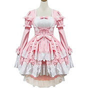 Long Sleeve Short Pink Cotton Princess Lolita Dress