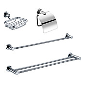Chrome Finish Bathroom Accessory Sets (Include Soap Holders,Toilet Roll Holders,2 Towel Bars - Brass)