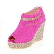 Beautiful Suede Wedge Heel Peep Toe Party / Evening Shoes (More Colors)