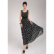 Kvinders Chiffon Belted Polka Dots Maxi Dress