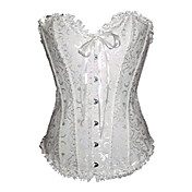 Pure White Satin Princee Lolita Corset With Ruffle