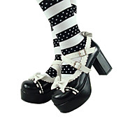 Handmade Black PU Leather 8cm High Heel Dolls Lolita Shoes