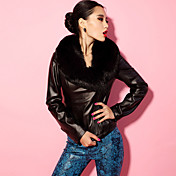 Women's Fur Collar Slim Genuine Leather Jacket