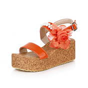 Leatherette Wedge Heel Sandals With Flower Party / Evening Shoes (More Colors)
