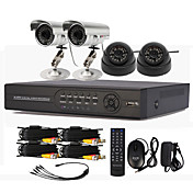 4 Channel CCTV DVR System with HD Recording (2 Outdoor Waterproof Camera&amp; 2 Indoor Dome Camera)