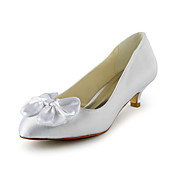 Satin Pompes talon bas avec des chaussures de mariage bowknot (plus de couleurs)