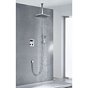 Chrome Finish Contemporary Thermostatic LCD 12 inch Square Showerhead + Handshower