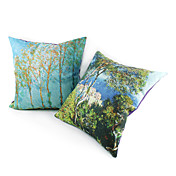 Set of 2 Country Forest Suede Decorative Pillow Cover