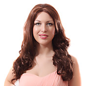 Lace Front Auburn Long Wavy Mixed Hair Wigs with Twenty-percent Human Hair