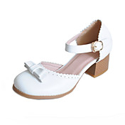 Leatherette Chunky Heel Round Toe With Bowknot And Ruched Casual / Party / Evening Shoes (More Colors)