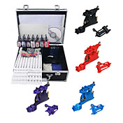 4 Guns(6colors Random) Tattoo Kit with Mini Power and 7 Colors Ink + Case