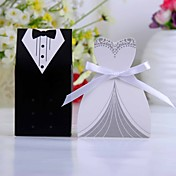 Tuxedo And Gown Favor Box With White Ribbon (Set of 12)