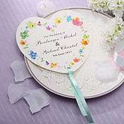 Personalized Heart Shaped Paper Hand Fan - Spring Flower(Set of 12)