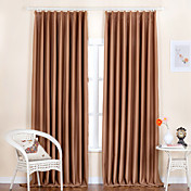 (Two Panels) Classic Faux Silk Embossed Curve Blackout Curtains